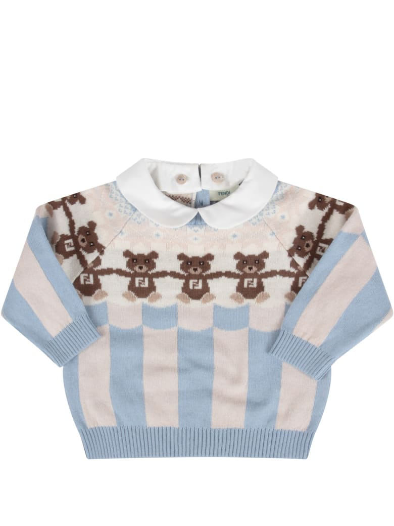 Fendi Light Blue And Beige Sweater With Bears For Baby Boy - Azzurro