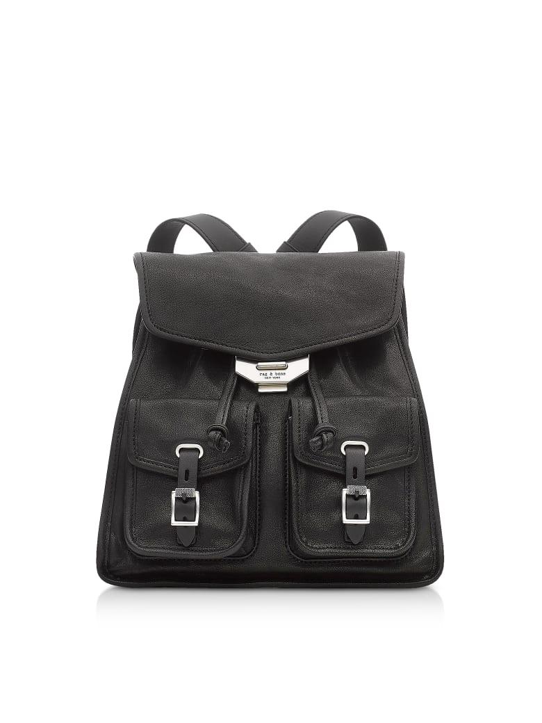 Rag & Bone Black Leather Field Small Backpack - Black