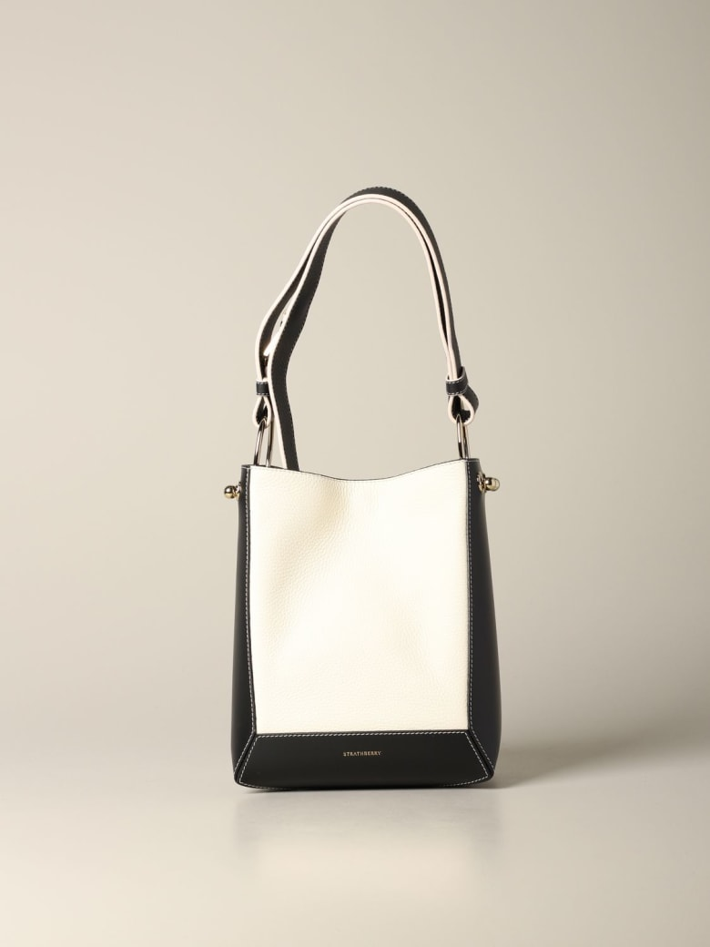 Strathberry Shoulder Bag Strathberry Wool Midi Bag In Patchwork Leather - ivory
