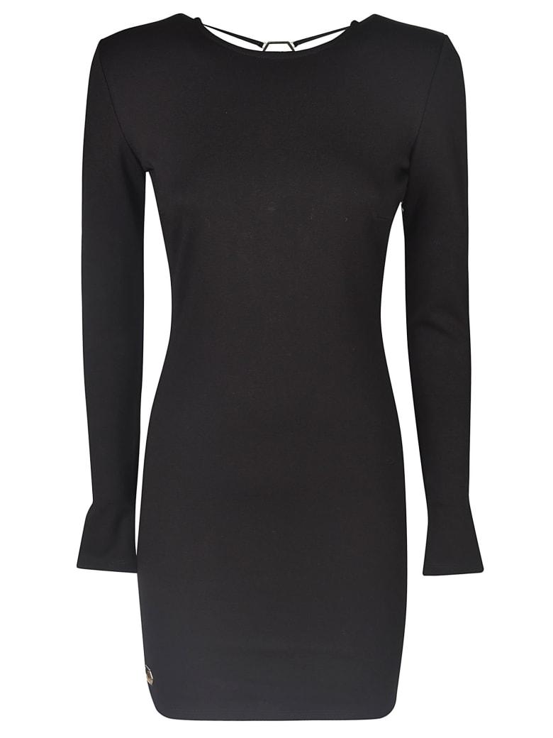 Philipp Plein Boat Neck Short Dress - Black