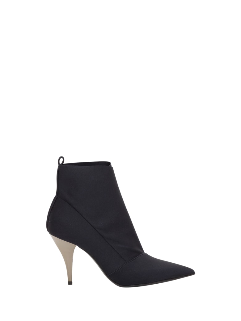 Casadei Ankle Boots In Stretch Fabric - Nero