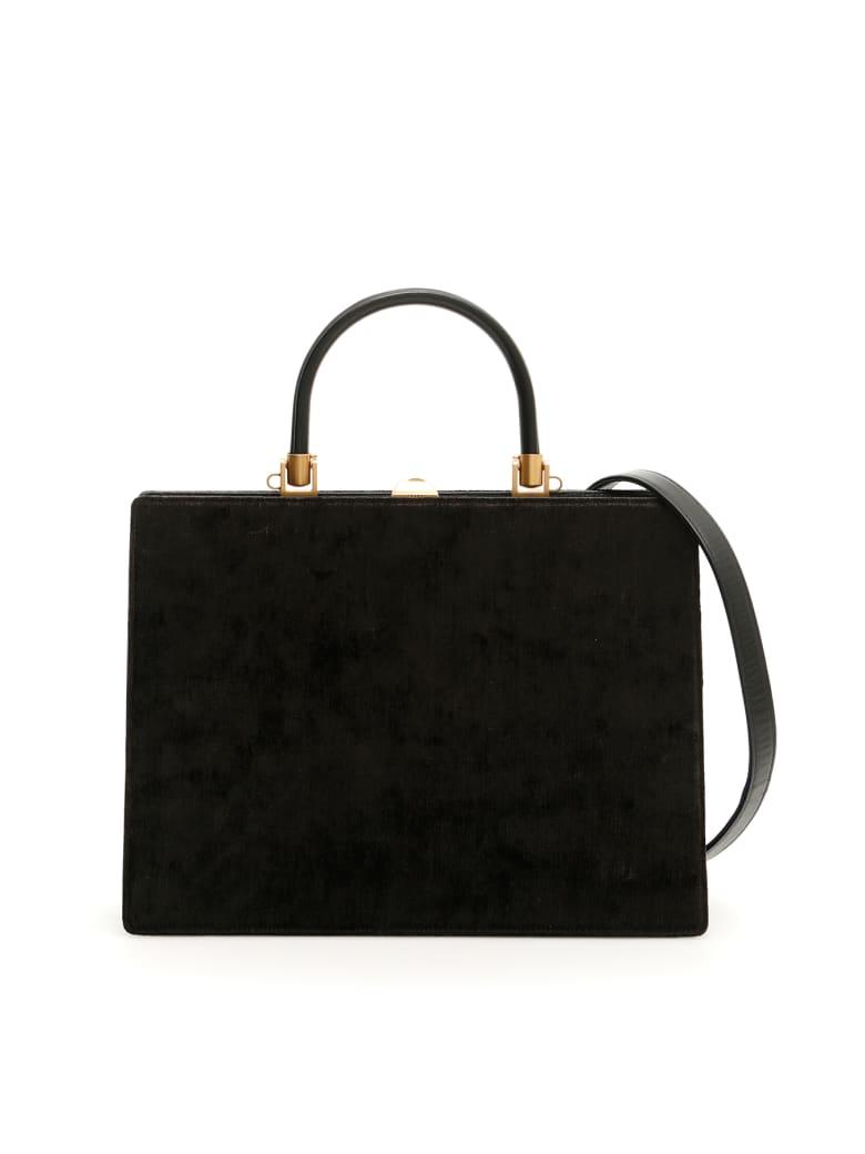 Rodo Velvet And Leather 70 Midi Bag - BLACK (Black)