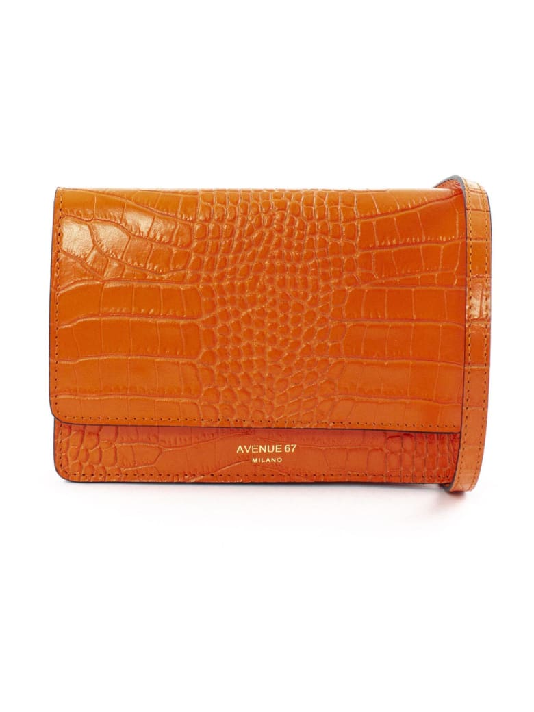 Avenue 67 Orange Leather Clutch Bag - Arancio