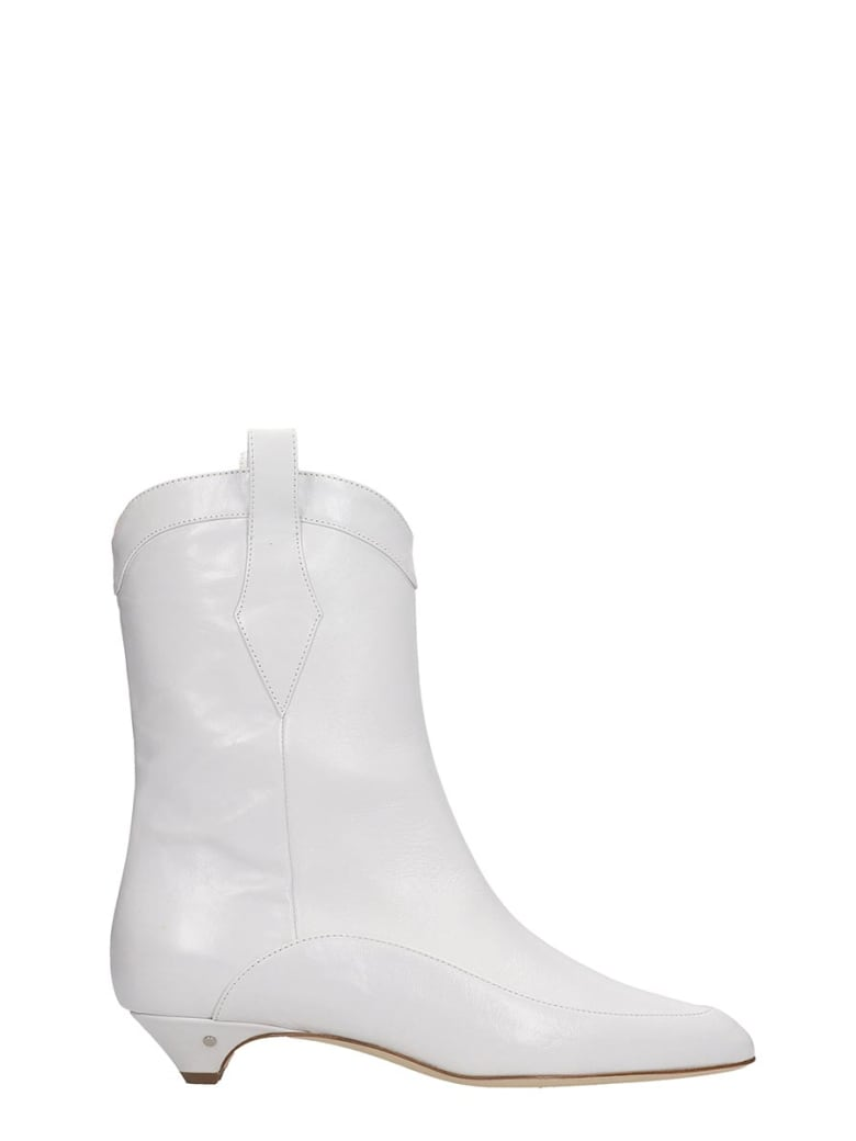 Laurence Dacade Vanessa Texan Ankle Boots In White Leather - white