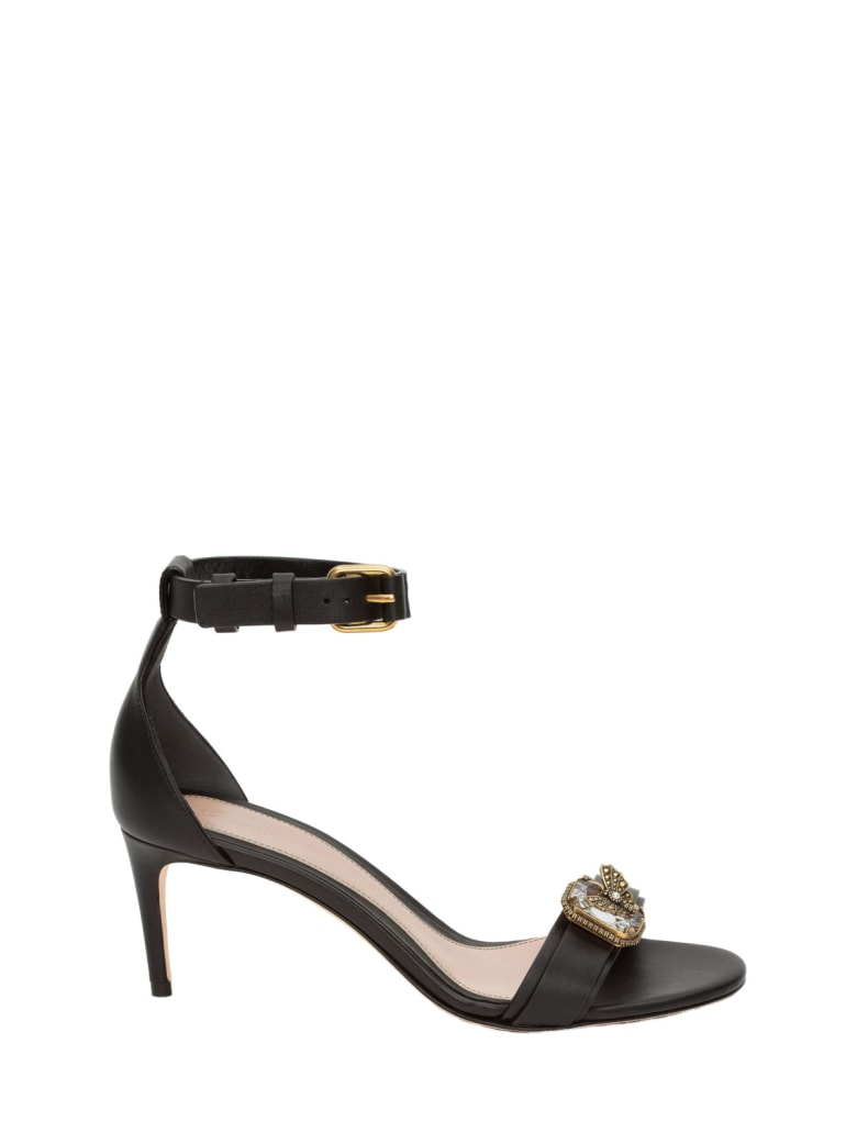 Alexander McQueen Leather Upper And Sole Sandal - Black Gold