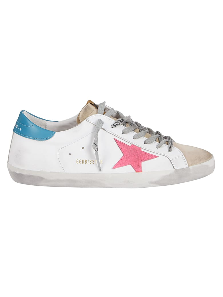 Golden Goose White Leather Super-star Sneakers - WHITE BLUE PINK