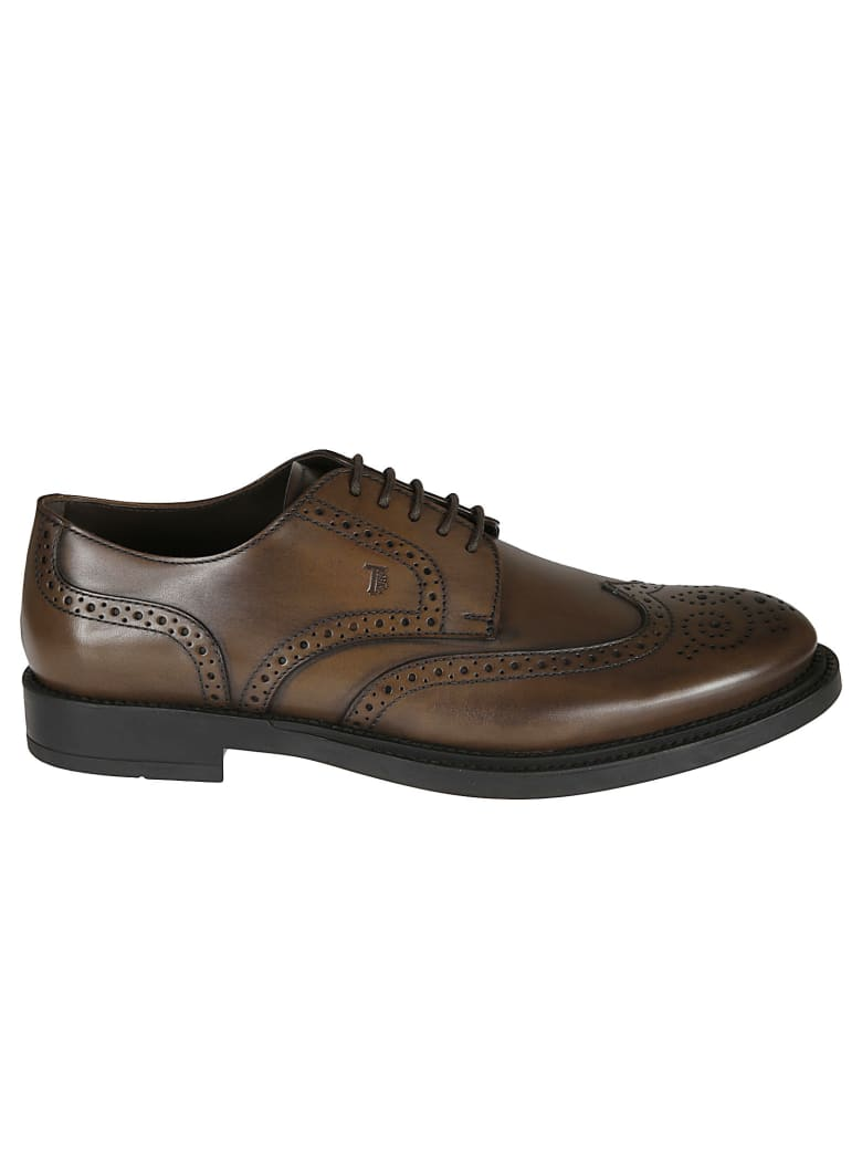 Tod's Logo Stamped Perforated Derby Shoes - Cacao