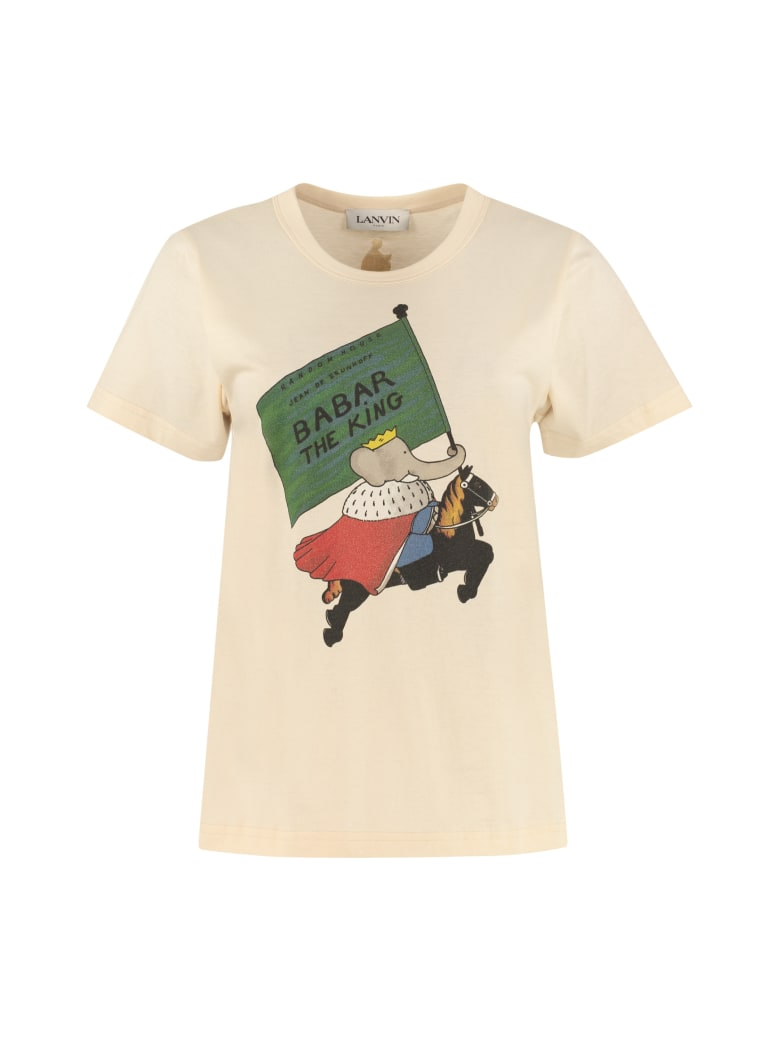 Lanvin Babar King Print Cotton T-shirt - Ecru