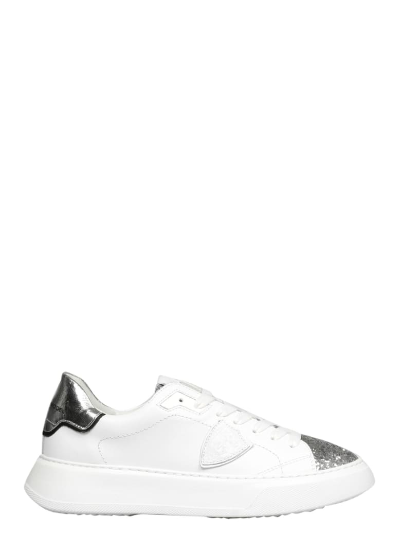 Philippe Model Temple L D Veau Glitter Sneakers - White