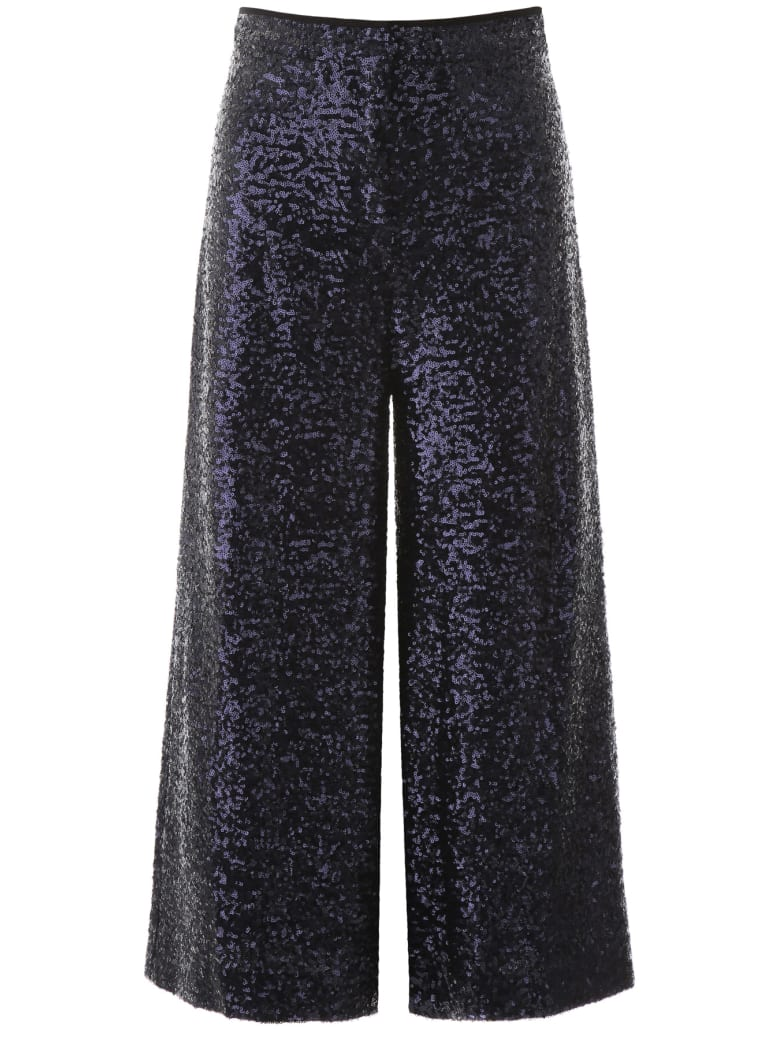In The Mood For Love Sequined Culotte Trousers - BLUE (Blue)