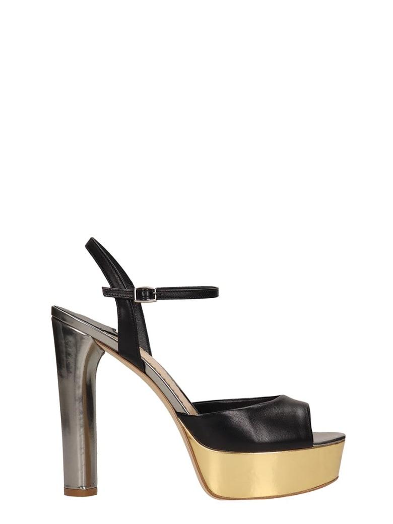 The Seller Black Leather Sandals - black