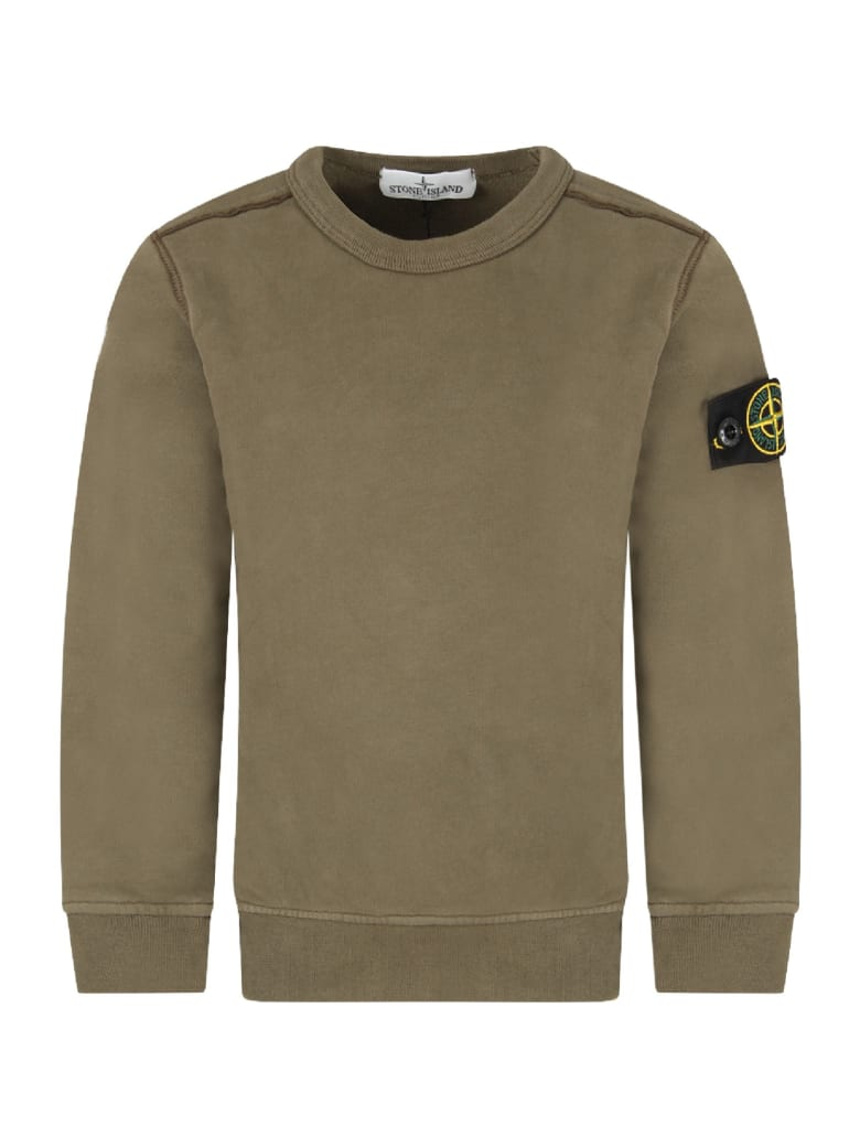 Melange Grey Stone Island Junior Crew Sweatshirt