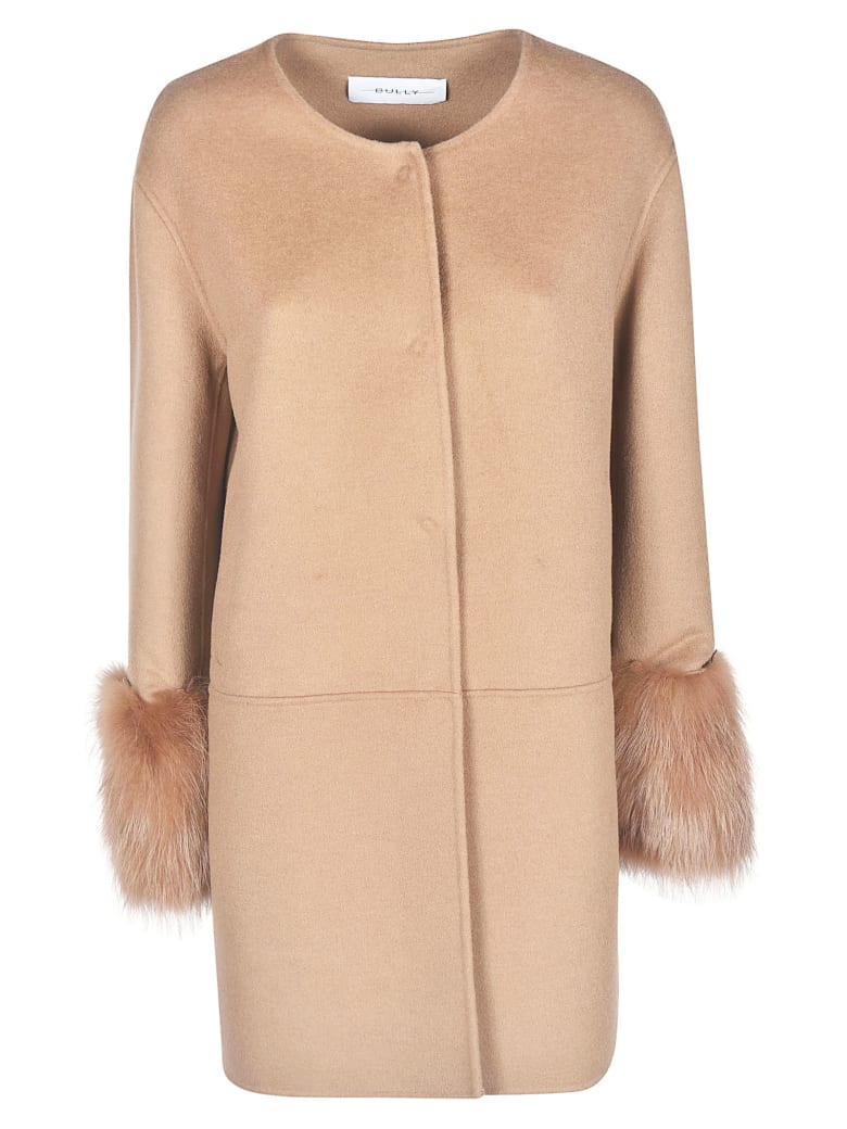 Bully Long Sleeve Furred Cuff Coat - Camel