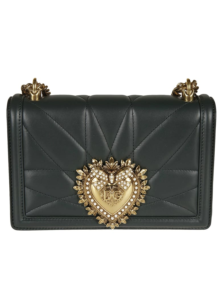Dolce & Gabbana Heart Plaque Chain Shoulder Bag - Green