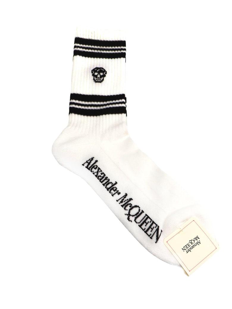 Alexander McQueen Socks Stripe Skull - White/black