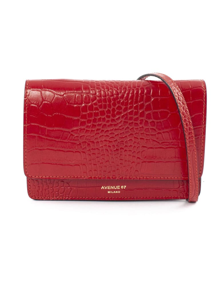 Avenue 67 Red Leather Clutch Bag - Rosso