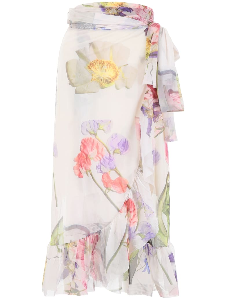 Ganni Floral-printed Wrap Dress - BRIGHT WHITE (Beige)