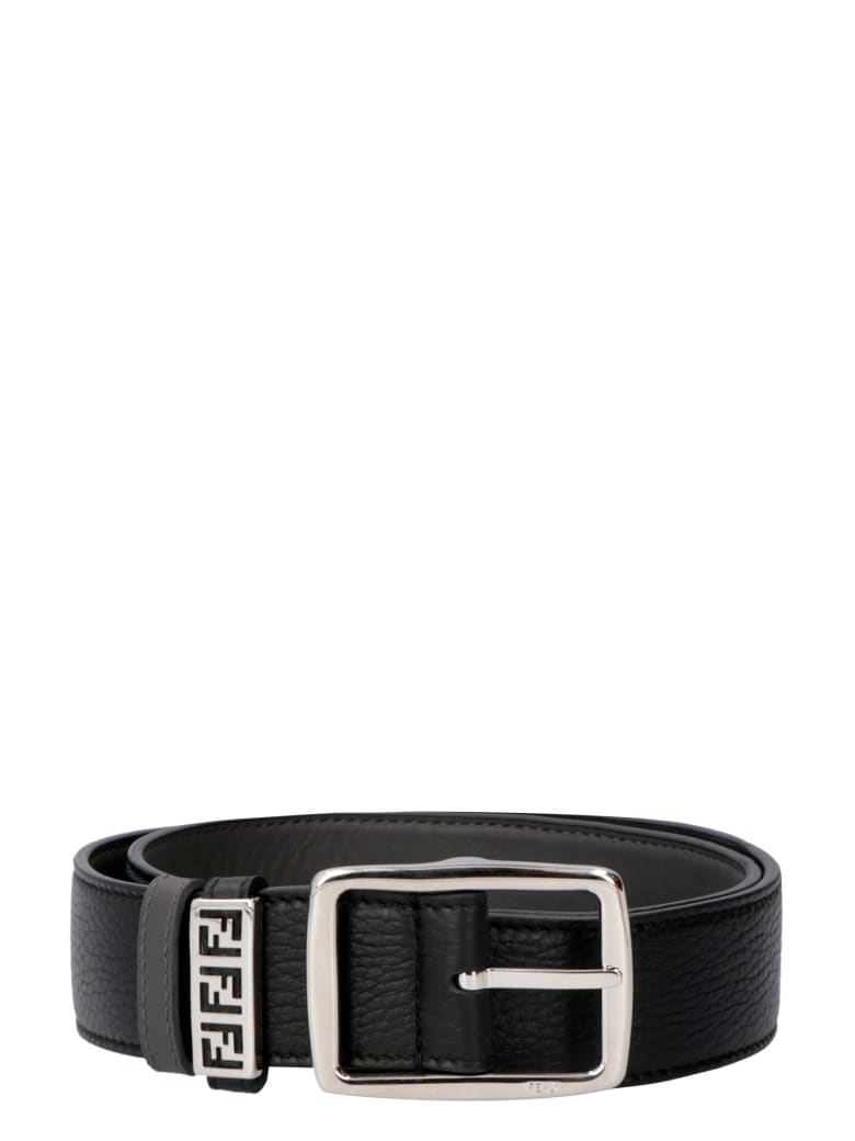 Fendi Reversible Leather Belt - black