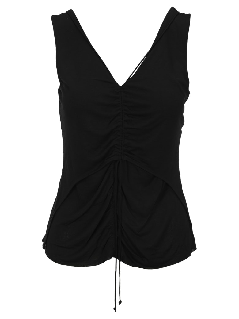 Helmut Lang Scala Ruched Top - BLACK
