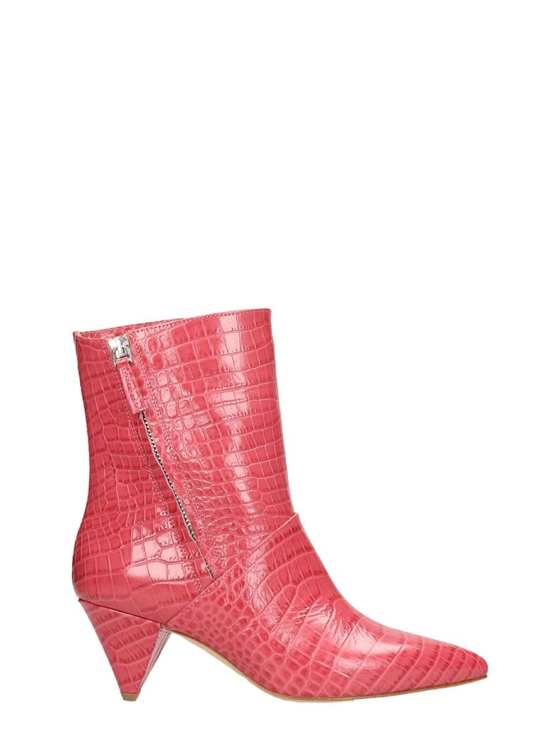 The Seller Red Cocco Print Leather Ankle Boots - fuxia
