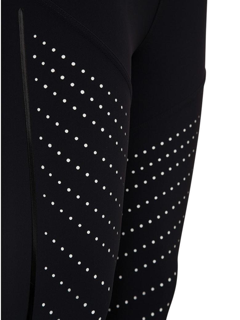 Moncler Leggings In Elastic Fabric With Logo - Nero