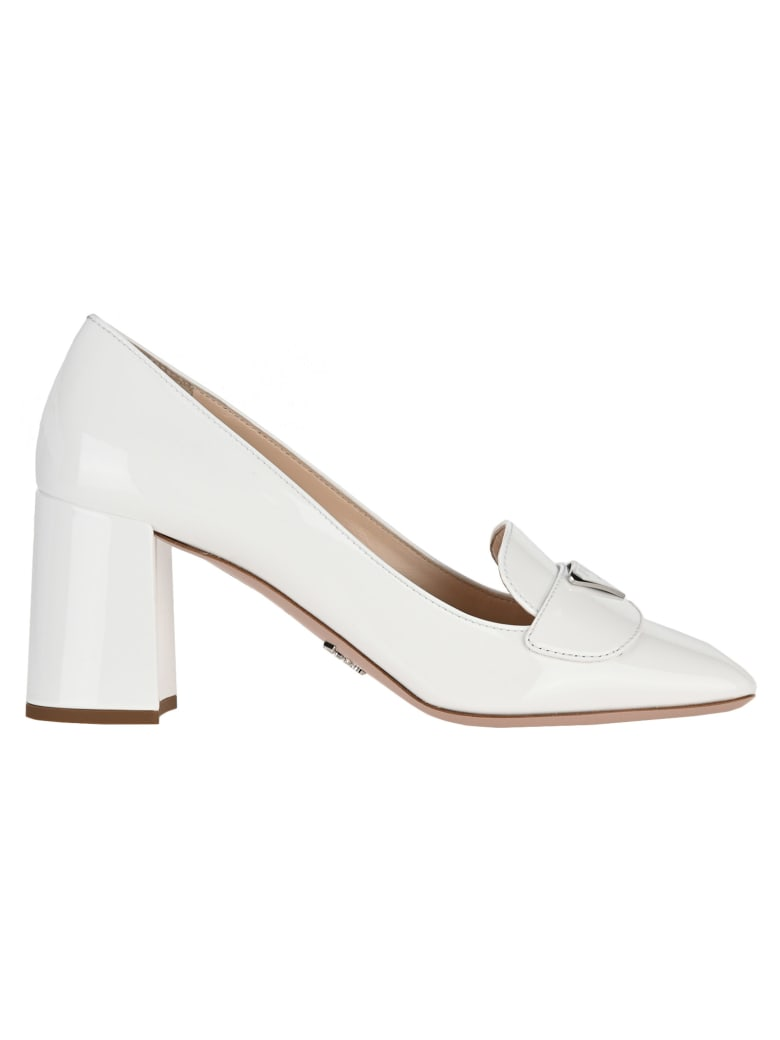 Prada Patent Leather Loafers - WHITE