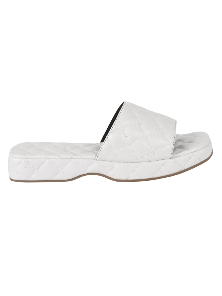 BY FAR Lilo Creased Leather Sliders - White