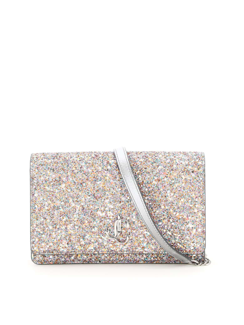 Jimmy Choo Palace Jc Glitter Bag - MOCHI (Silver)