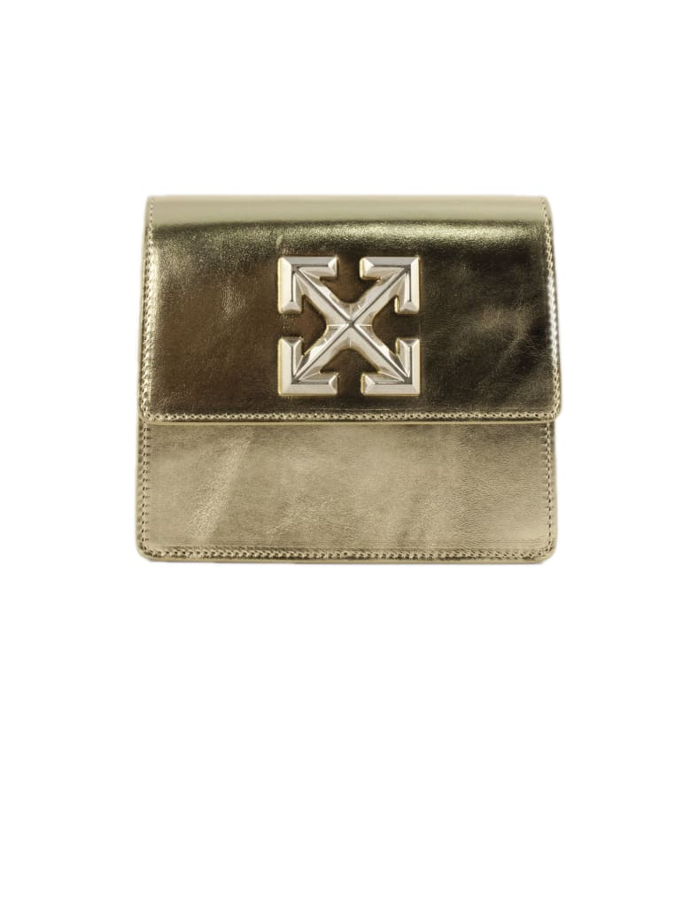 Off-White Jitney 0.7 Gold Leather Shoulder Bag - Oro