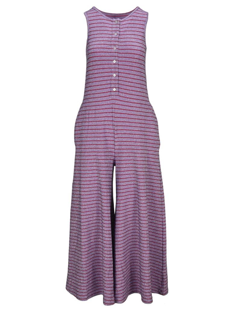 MM6 Maison Margiela Mm6 Stripes Lurex Jumpsuit - Stripy lilac