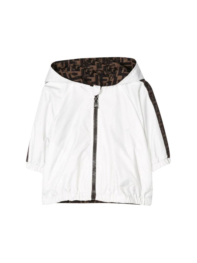 Fendi Kids Jacket With Side Logo Bands - Gesso