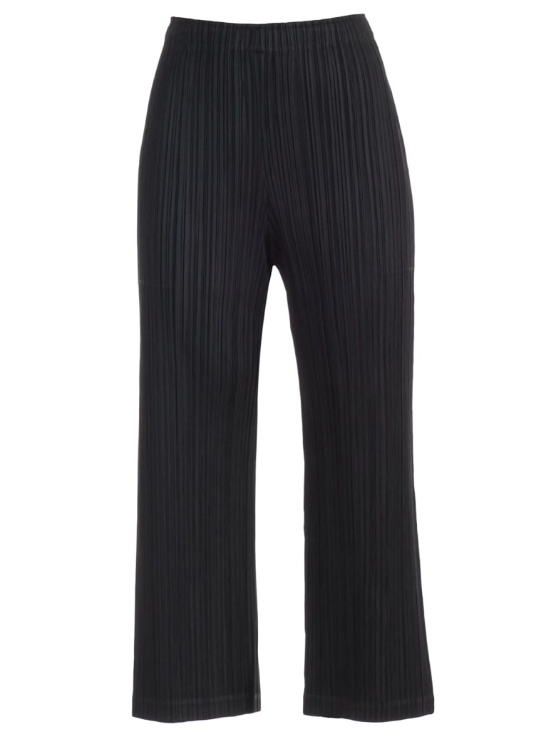 Pleats Please Issey Miyake Pants Straight W/large Pockets - Black
