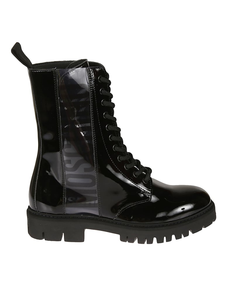 Moschino Glossy Lace-up Boots - Black