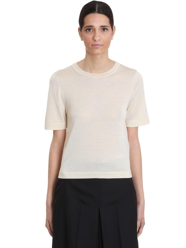 Ami Alexandre Mattiussi T-shirt In Beige Wool - beige