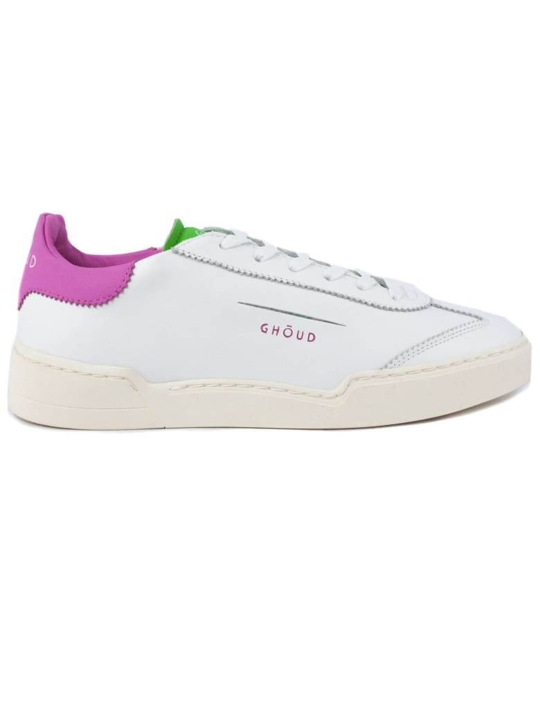 GHOUD White Leather Sneaker - Bianco+fuxia