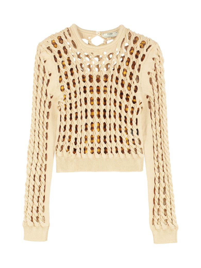 Fendi Cable Knit Pullover - Beige
