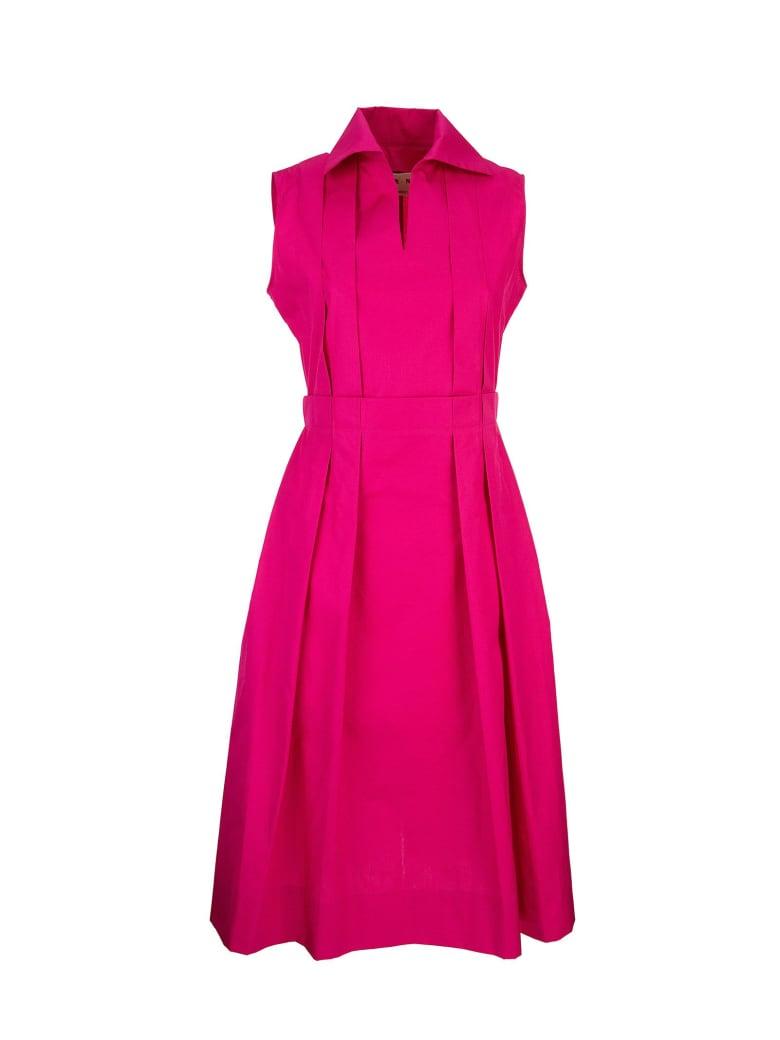Marni Polo-neck Cotton Poplin Dress With Pleats - Fuchsia