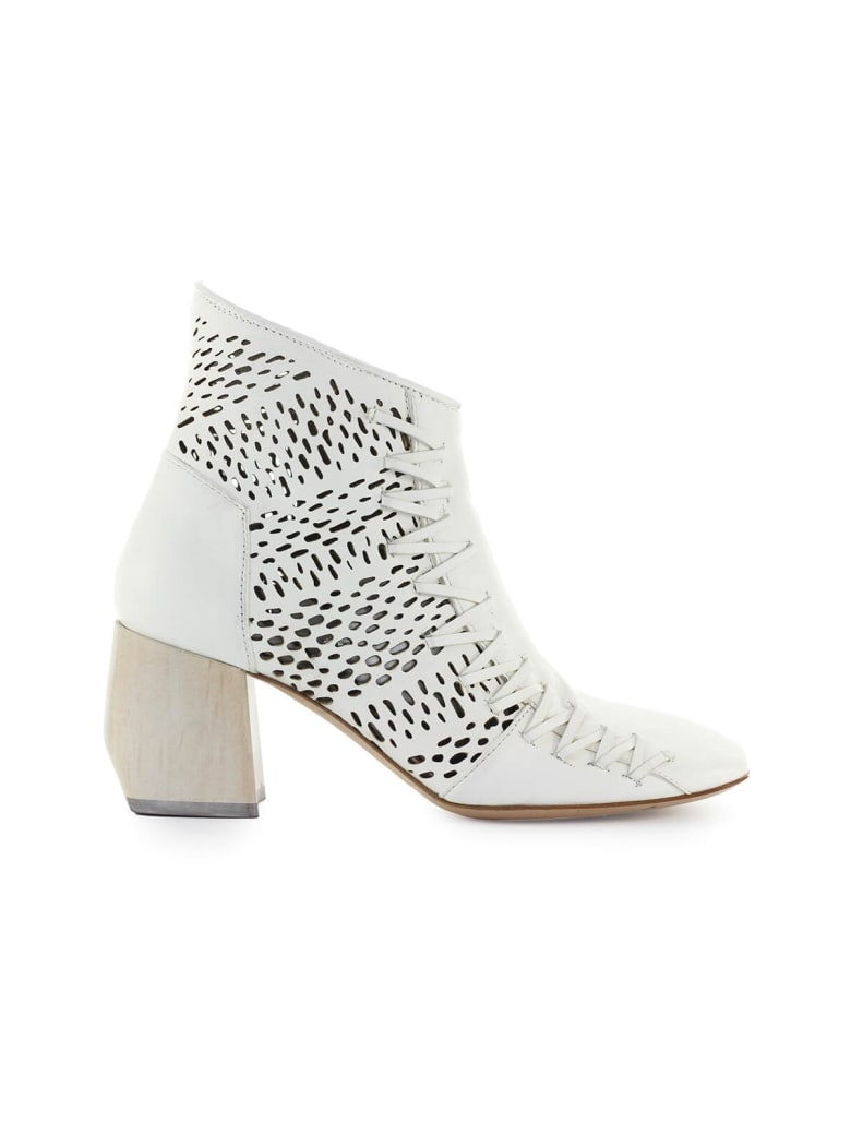 IXOS White Perforated Ankle Boot - Latte (White)