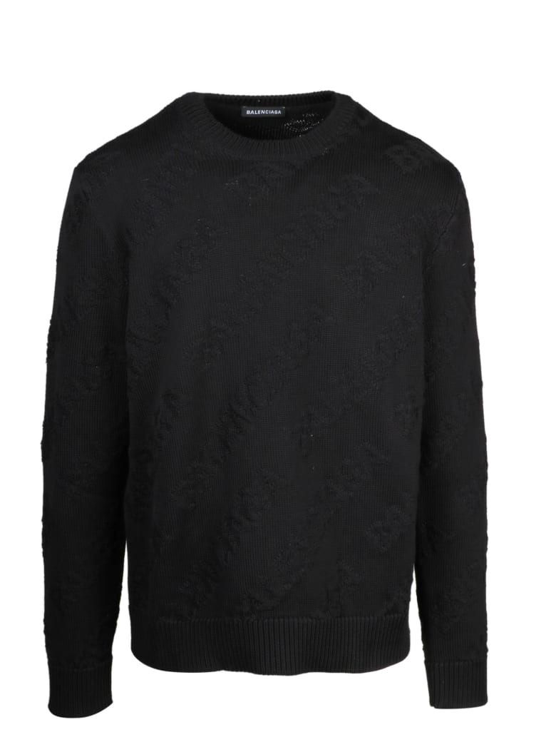 Balenciaga Maglia Allover Logo - Black