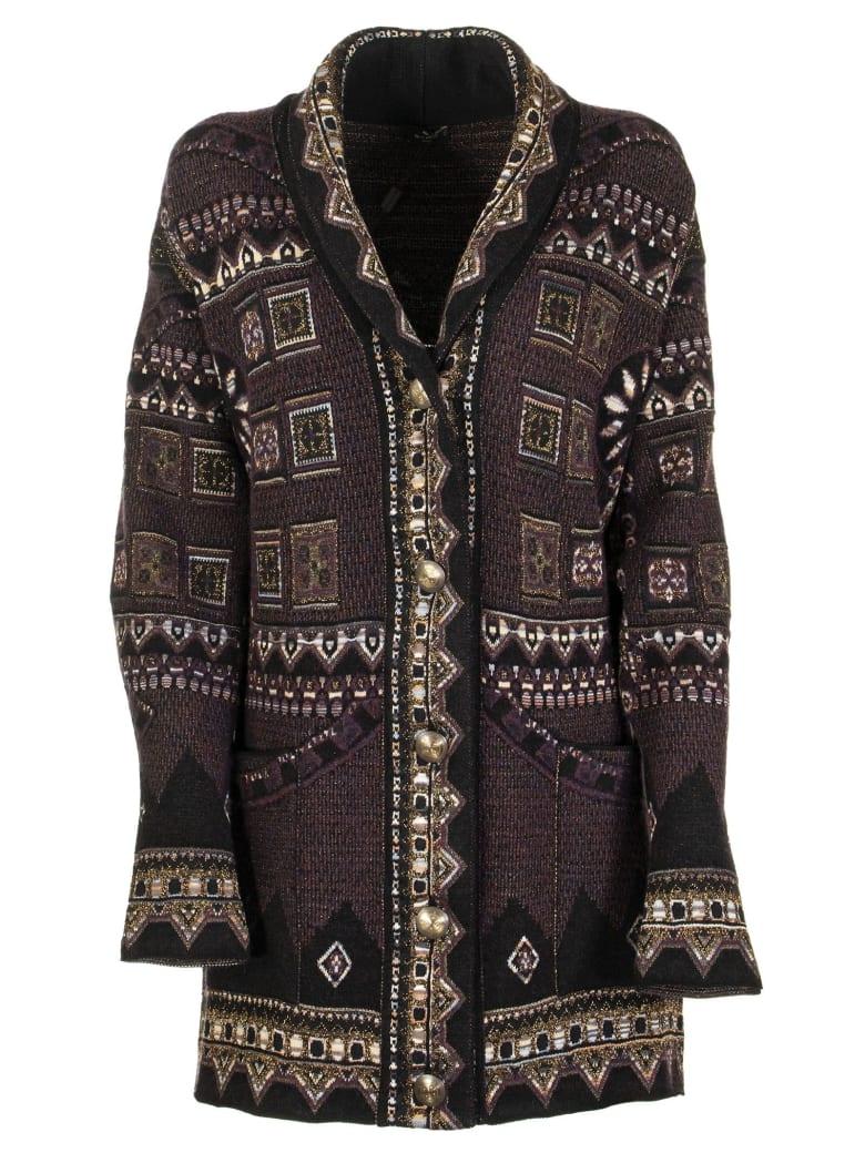 Etro Intarsia Wool-blend Cardigan - Black