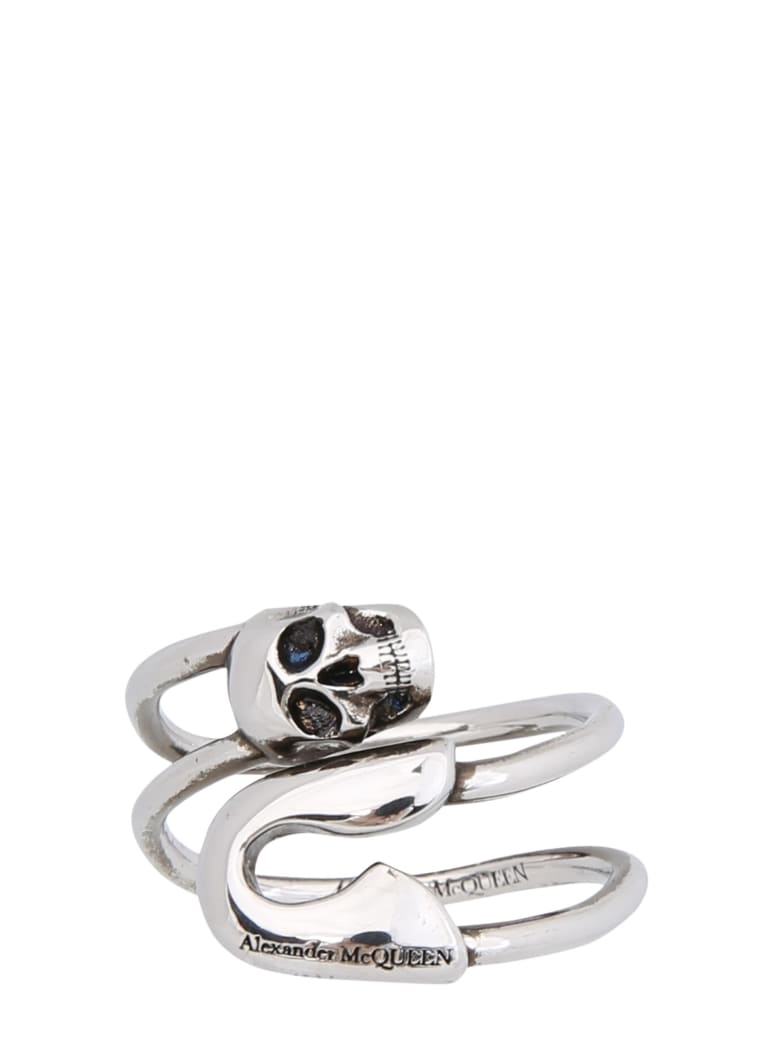Alexander McQueen Safety Pin Ring - SILVER