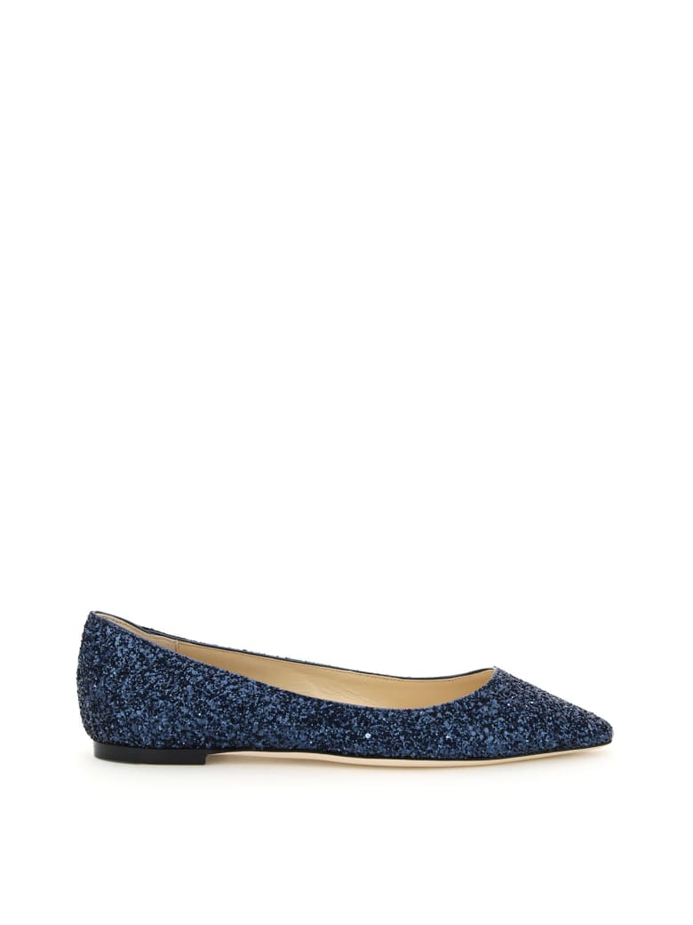 Jimmy Choo Glitter Romy Flats - NAVY (Blue)