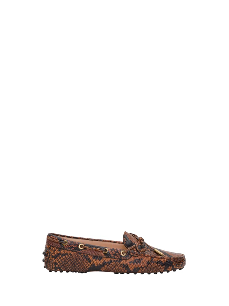 Tod's Heaven Gommino Driving Shoes In Python Pritned Leather - Marrone