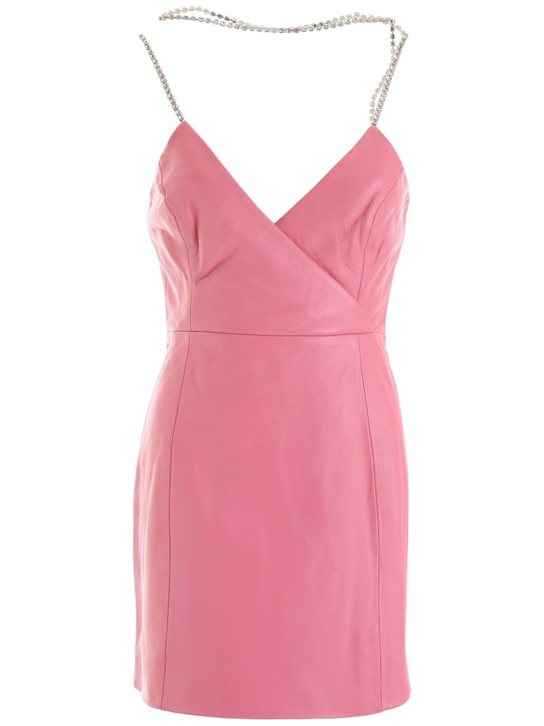 AREA Leather Mini Dress With Crystals - PINK (Pink)