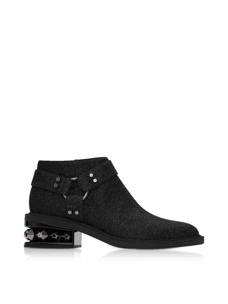 Nicholas Kirkwood Black Glitter Textured Canvas And Leather 35mm Suzi Low Biker Boots - Black