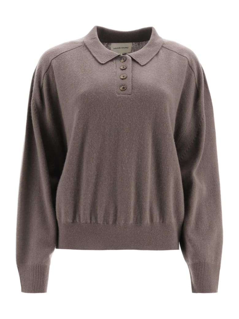 Loulou Studio Cashmere Polo Shirt - TAUPE (Brown)