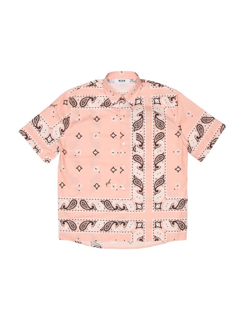 MSGM Pink Ss Shirt Bandana - Pink