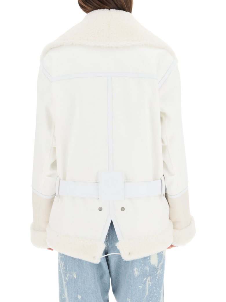 Mr & Mrs Italy Cotton Jacket With Nappa And Shearling Inserts - OFF WHITE SAIL WHITE (White)
