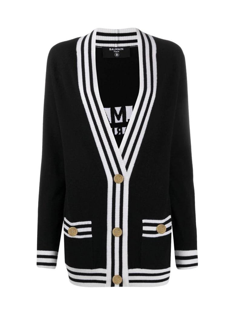 Balmain Buttoned Logo Cardigan - Eab Noir Blanc