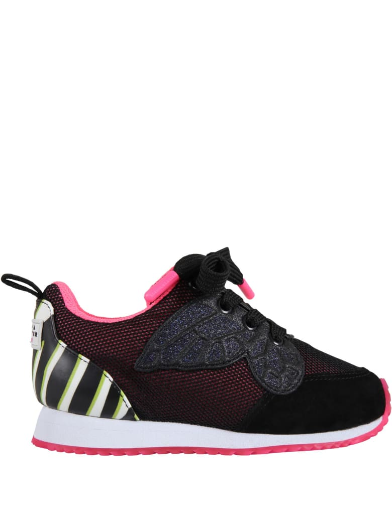 Sophia Webster Mini Black Sneakers For Girl With Butterfly - Black